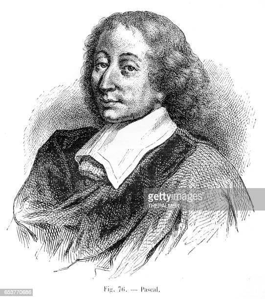 blaise pascal engraving 1881 - physicist stock illustrations, clip art, cartoons, & icons