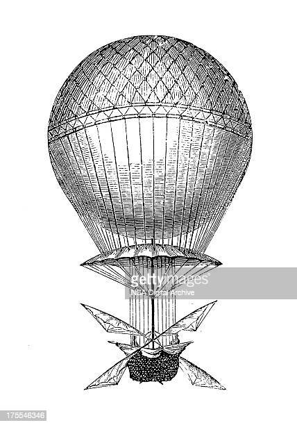 blanchard's hot air balloon | antique scientific illustrations - 19th century style stock illustrations