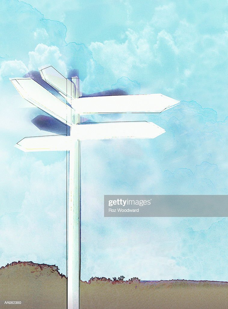 Blank directional signs against blue sky : stock illustration
