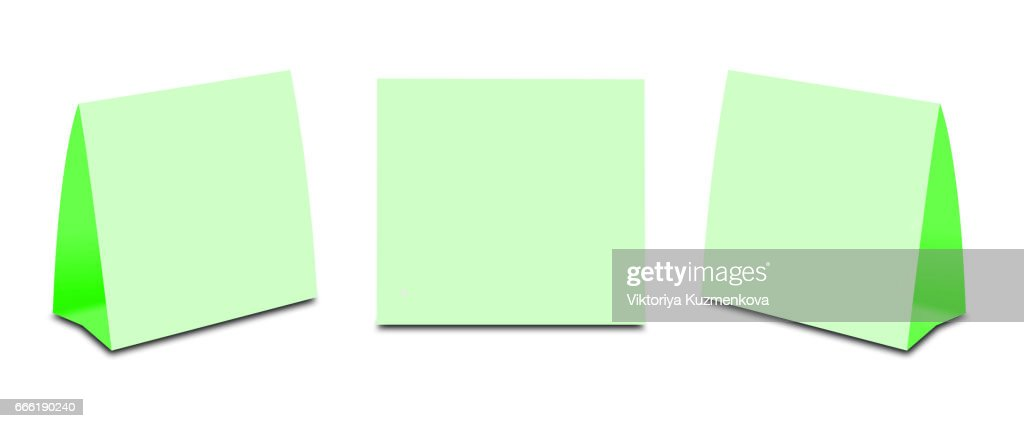blank green table tent on white paper vertical cards isolated on