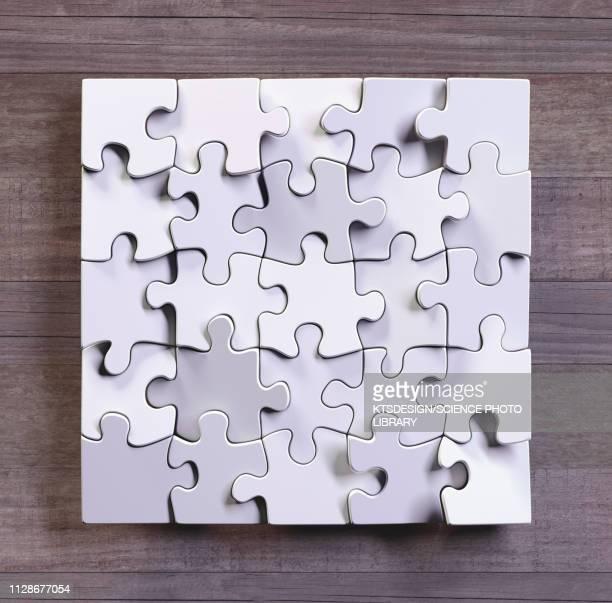 blank jigsaw puzzle, illustration - destruction stock illustrations