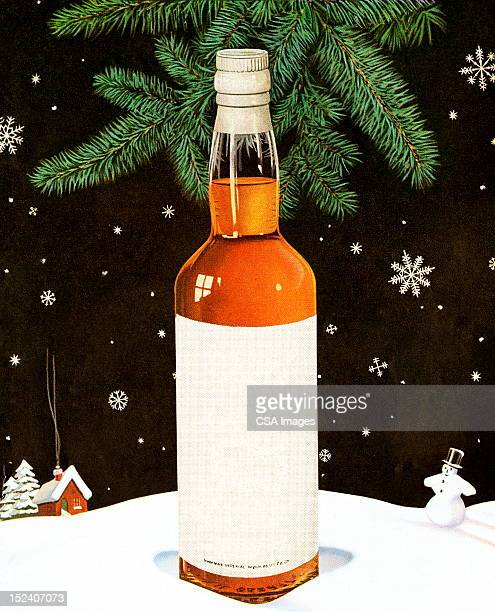 blank liqour bottle in snowy scene - scotch whiskey stock illustrations, clip art, cartoons, & icons