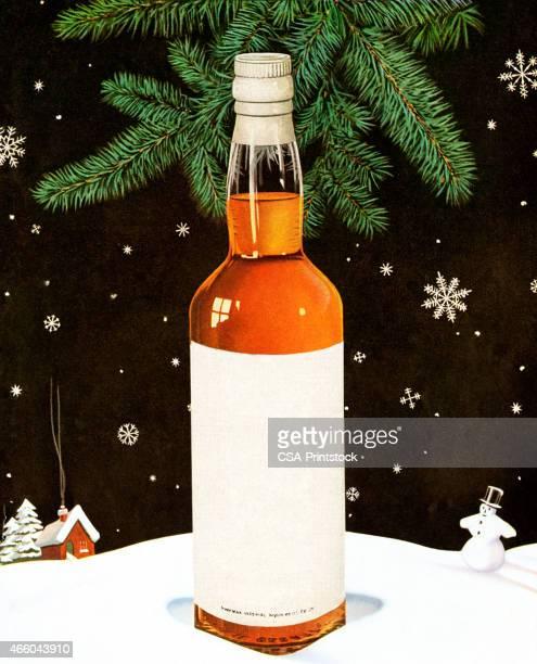 blank liquor bottle in snowy scene - scotch whiskey stock illustrations, clip art, cartoons, & icons