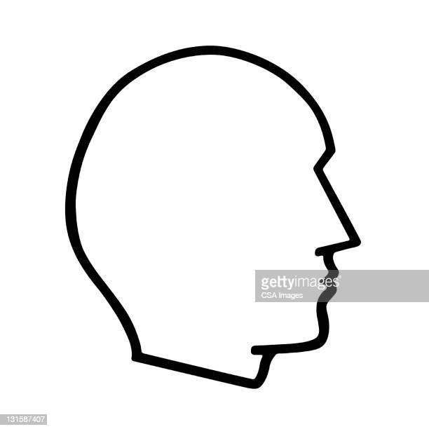 ilustrações, clipart, desenhos animados e ícones de blank man's silhouette - cabeça humana