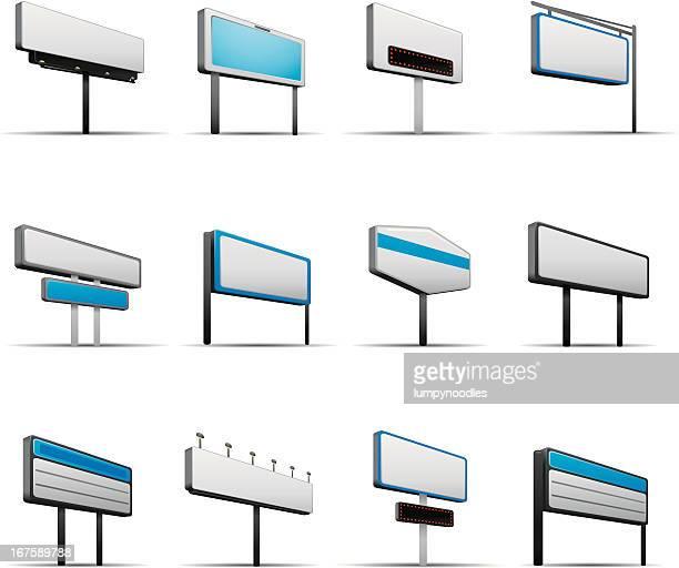blank store signs - tilt stock illustrations