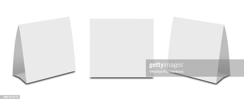 blank white table tent on white paper vertical cards isolated on
