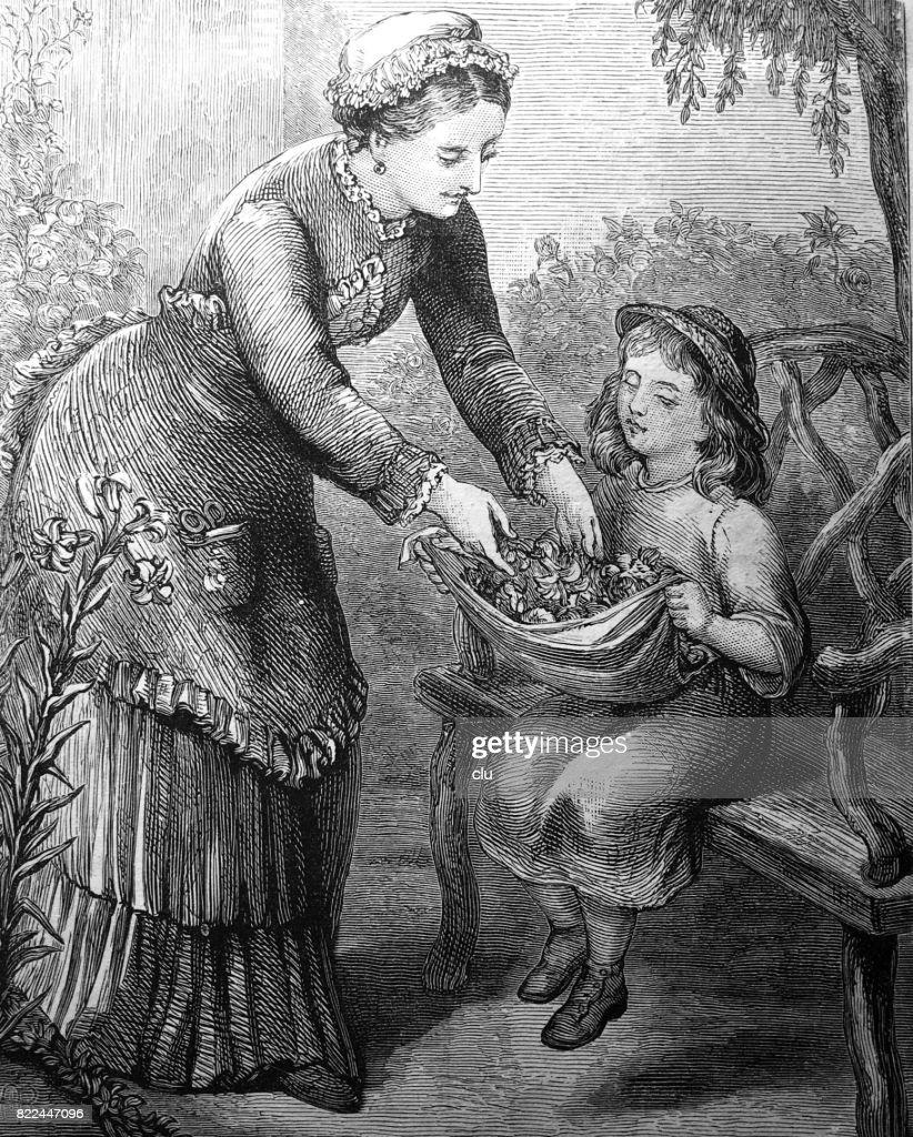 Blind girl sitting on bench in garden holding cloth for leaves : stock illustration