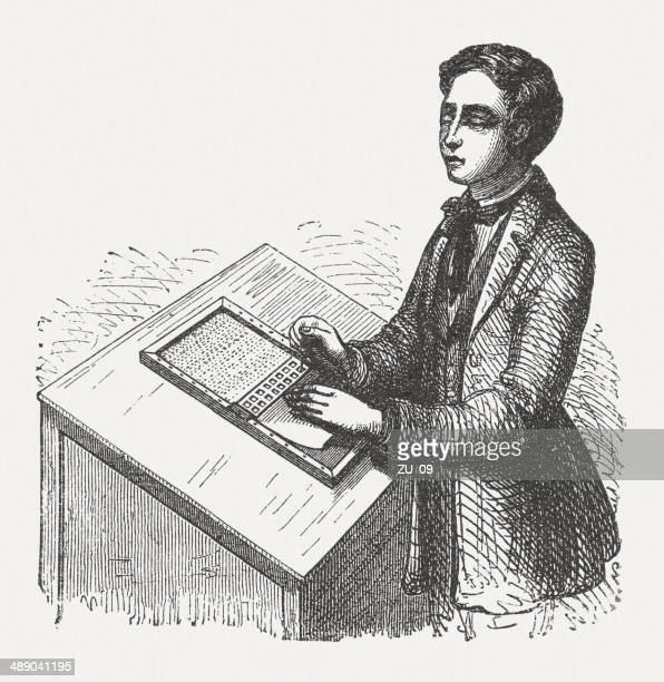 blind man writes, wood engraving, published in 1876 - braille stock illustrations