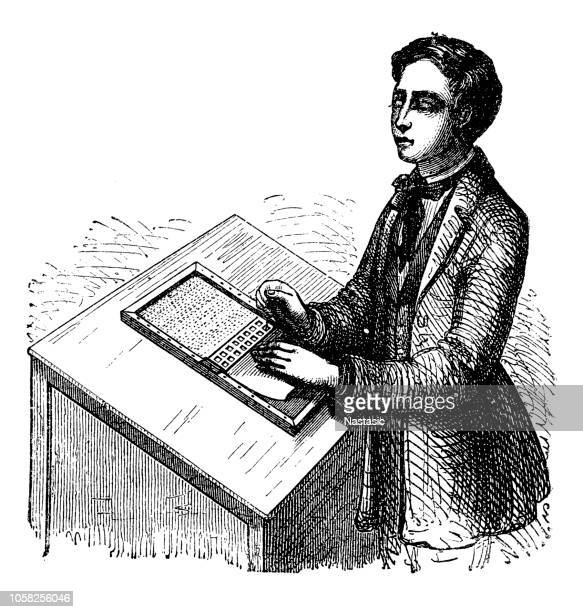 blind man writing - blindness stock illustrations, clip art, cartoons, & icons