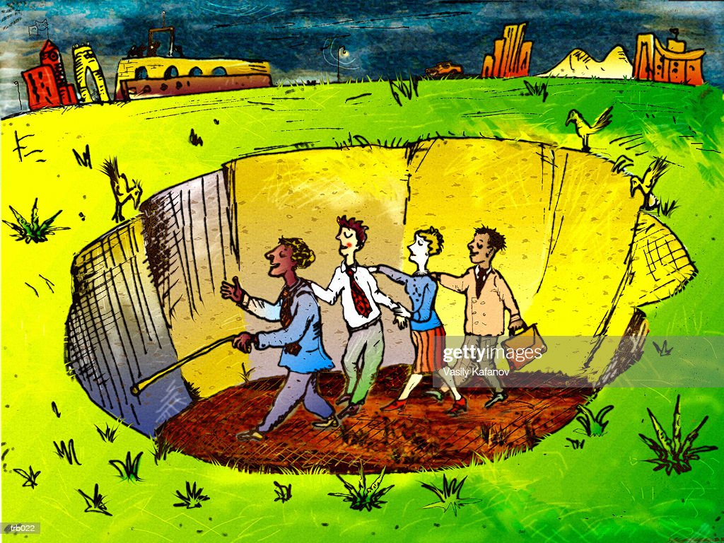 Blind People in Hole : Stockillustraties