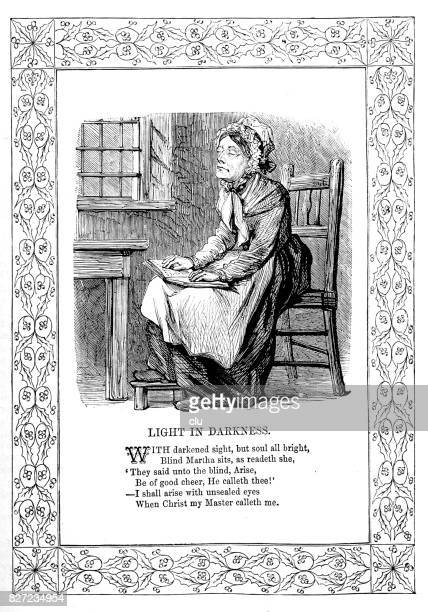 blind woman on chair, reading and praying - blindness stock illustrations, clip art, cartoons, & icons