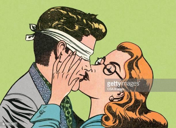 ilustraciones, imágenes clip art, dibujos animados e iconos de stock de blindfold kiss - ojos tapados