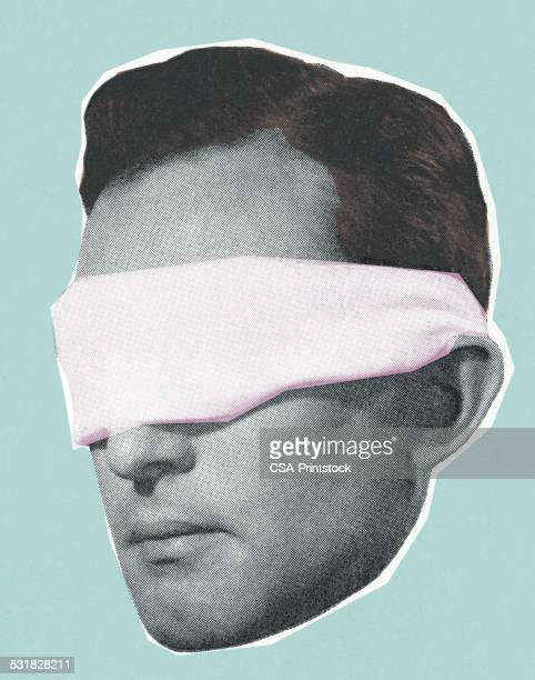 ilustraciones, imágenes clip art, dibujos animados e iconos de stock de blindfolded hombre - ojos tapados