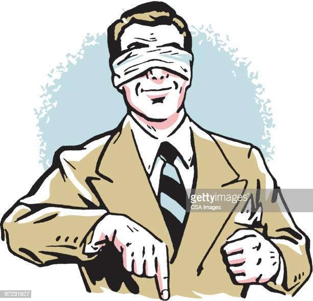 ilustraciones, imágenes clip art, dibujos animados e iconos de stock de blindfolded man - ojos tapados