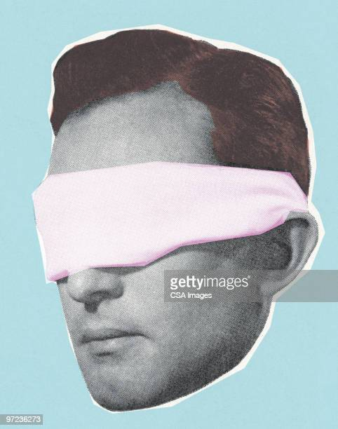 blindfolded man - sensory perception stock illustrations