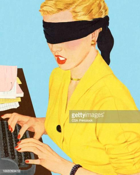 ilustrações, clipart, desenhos animados e ícones de mulher de olhos vendada em uma máquina de escrever - authors