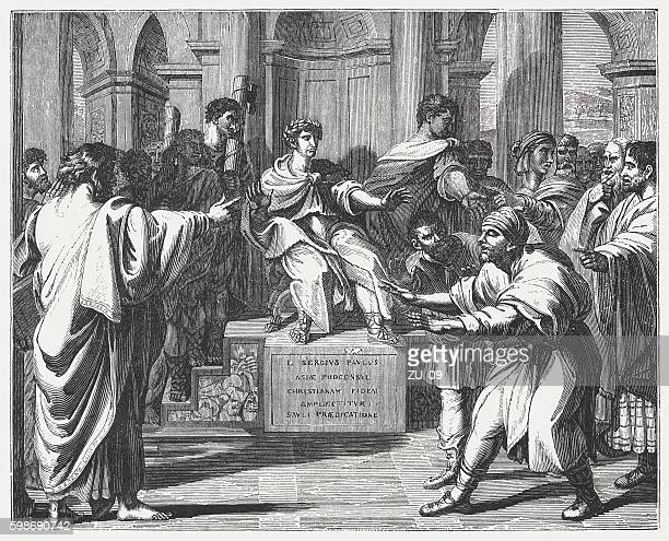 blindness of elymas (acts 13), wood engraving after rapheal, 1855 - paul the apostle stock illustrations