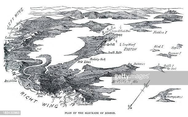 blockade of boston - us navy stock illustrations