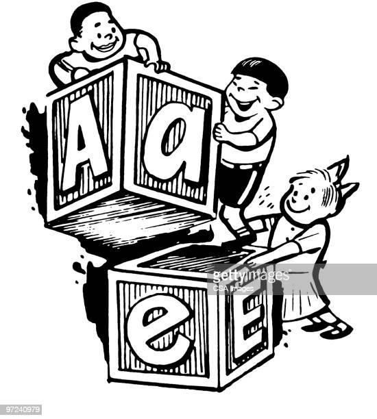 blocks - the alphabet stock illustrations