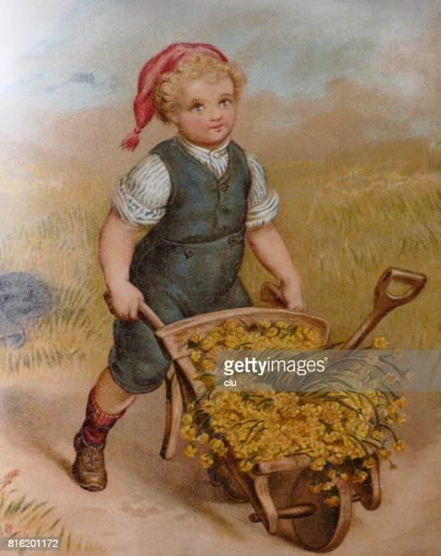 Blond boy pushing a wheelbarrow full with golden flowers