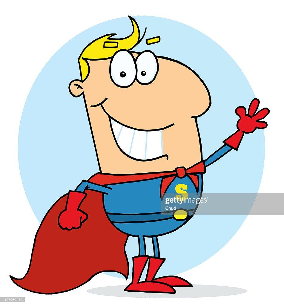 Blond Cartoon Super Hero Waving Man : Stock Illustration