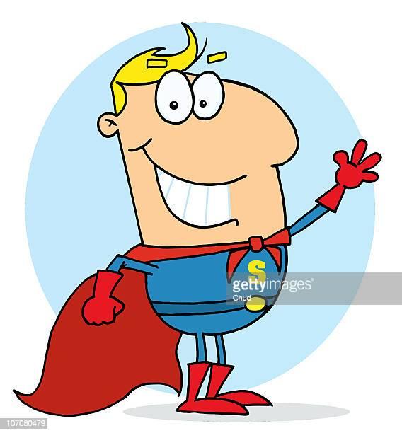 blond cartoon super hero waving man - heroes stock illustrations