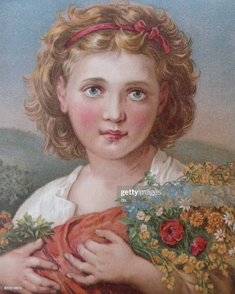 Blond girl holding a bouquet of summer flowers : stock illustration