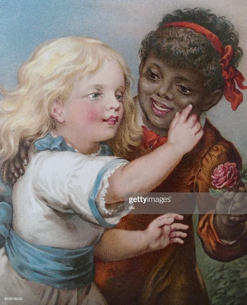 Blond girl touching the skin of a black african girl : stock illustration