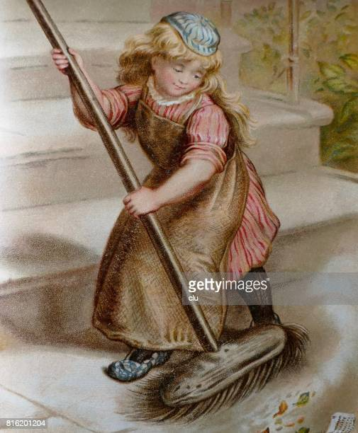 Blond girl with long hair sweeping the staircase with large broom