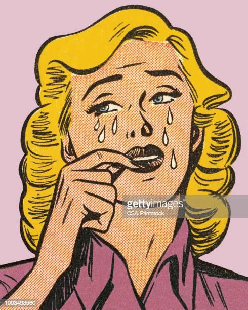 ilustrações de stock, clip art, desenhos animados e ícones de blond woman crying - loira