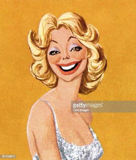 ilustrações de stock, clip art, desenhos animados e ícones de blond woman laughing - loira
