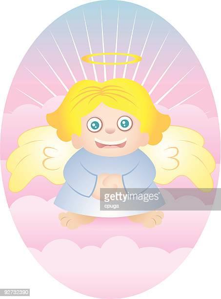 Blonde Engel auf bauschigen Wolken