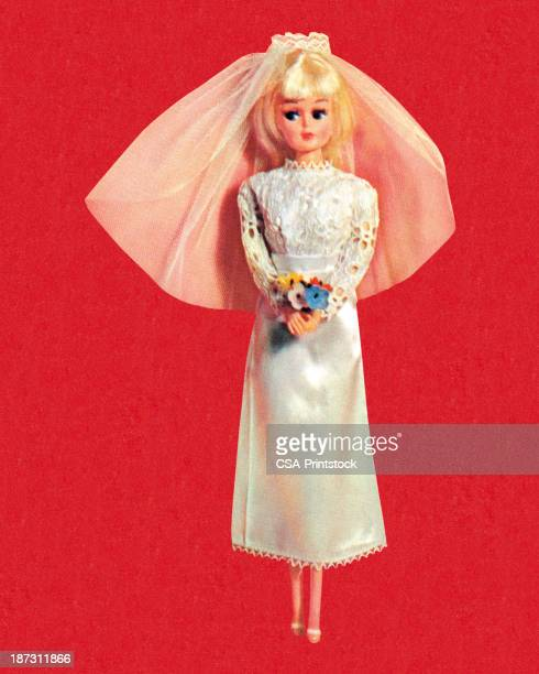 blonde fashion doll bride - figurine stock illustrations, clip art, cartoons, & icons