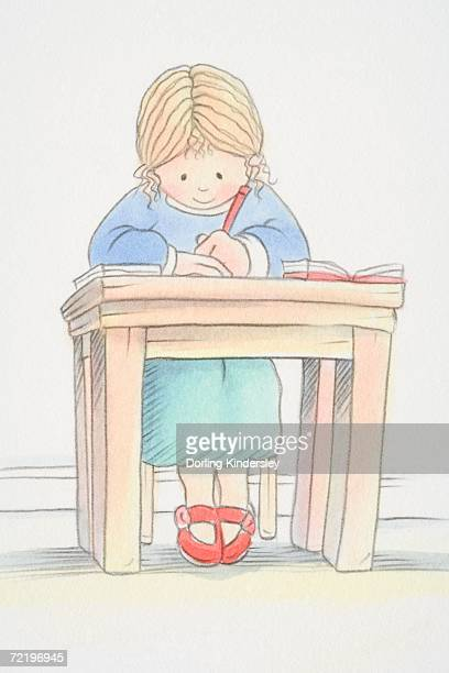 blonde girl in green skirt, blue jumper and red shoes sitting by small desk and writing, low angle view. - 赤の靴点のイラスト素材/クリップアート素材/マンガ素材/アイコン素材