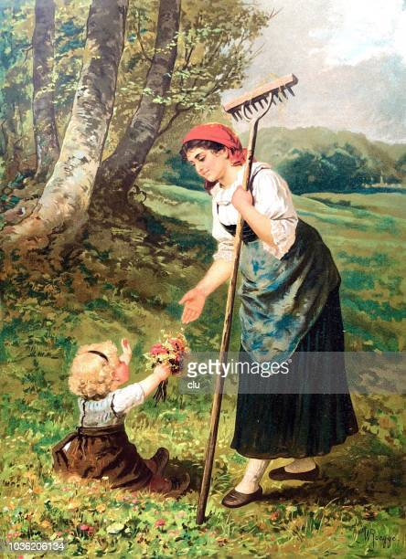 Blonde girl on the meadow gives mother a bouquet of flowers