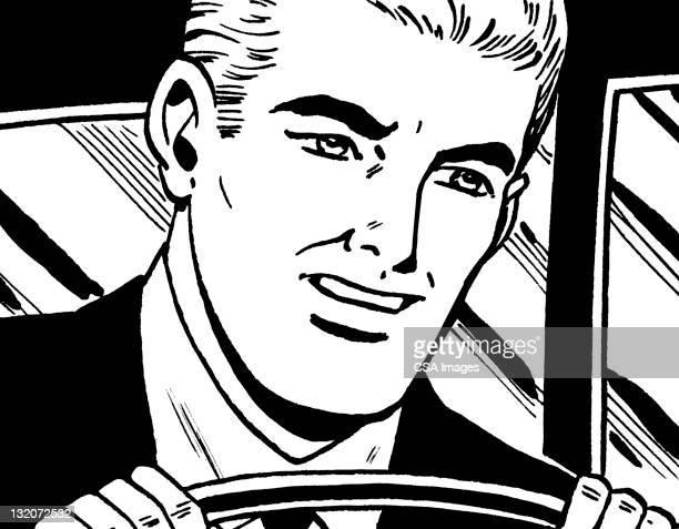 Blonde Man Driving
