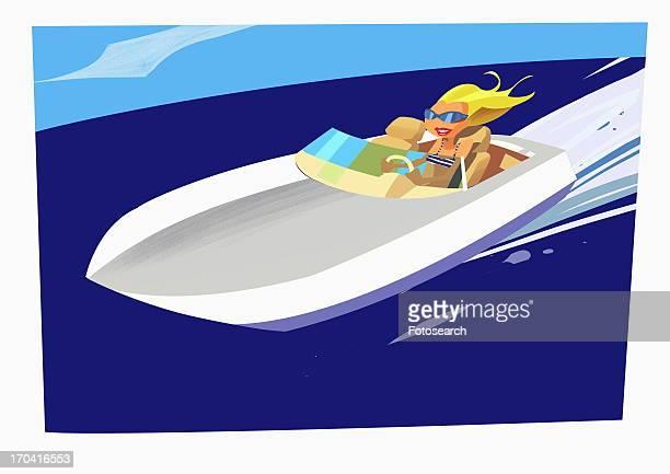 Blonde speeding in motor boat