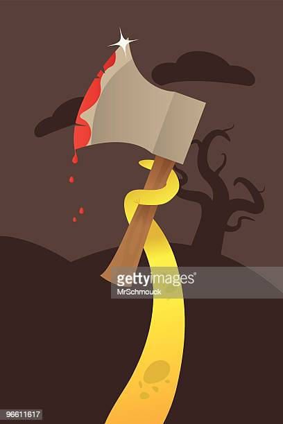 bloody axe ! - hatchet stock illustrations, clip art, cartoons, & icons