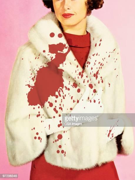 bloody fur coat - 20th century stock illustrations