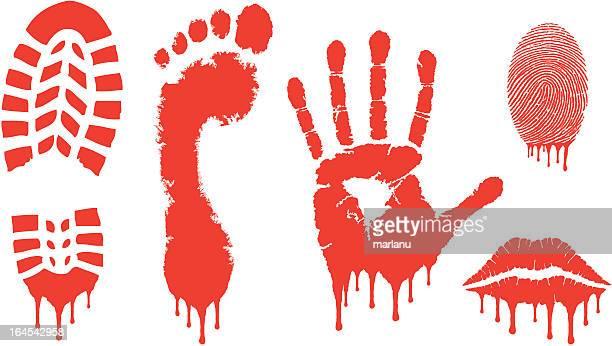 bloody prints - shoe print stock illustrations