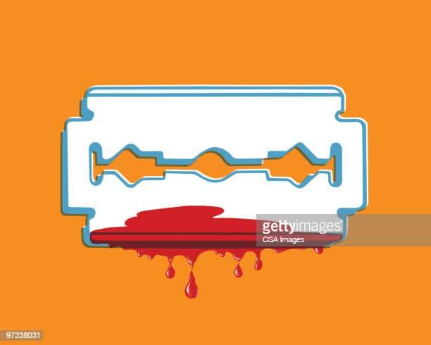bloody razor blade - razor blade stock illustrations, clip art, cartoons, & icons