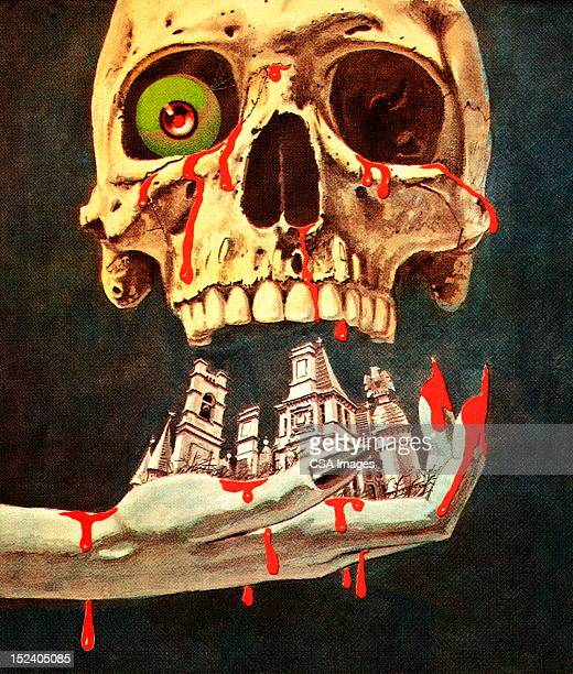 bloody skull, city and hand - human settlement stock illustrations