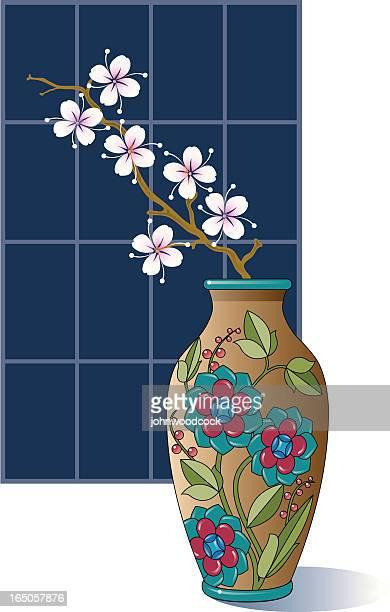 blossom in a vase. - vase stock illustrations, clip art, cartoons, & icons