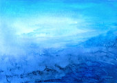 Blue abstract watercolor landscape