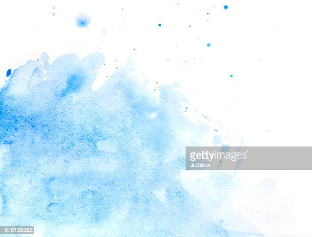Blue abstract watercolor of splashing water