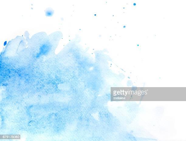 Blauw abstract aquarel van opspattend water