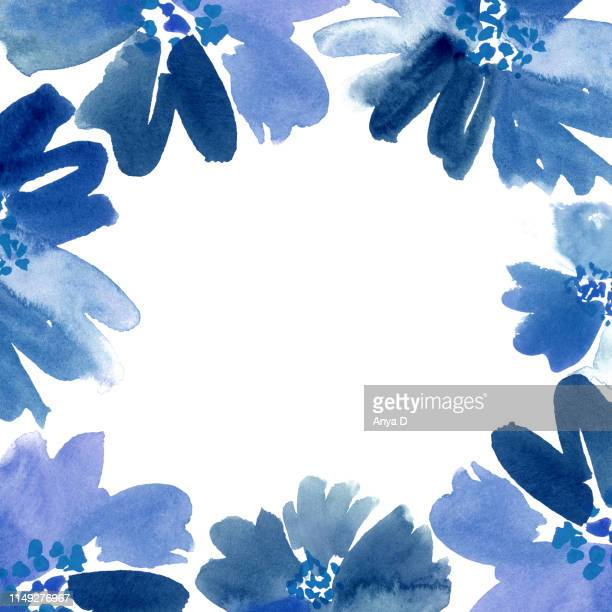 loose watercolor flowers shades blue