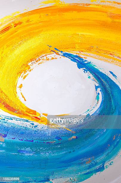 Blue and yellow paint.