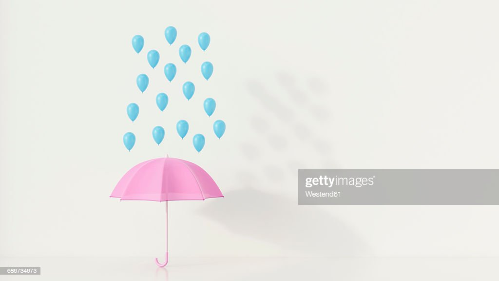 Blue ballons above pink umbrella, 3q rendering : Stock Illustration
