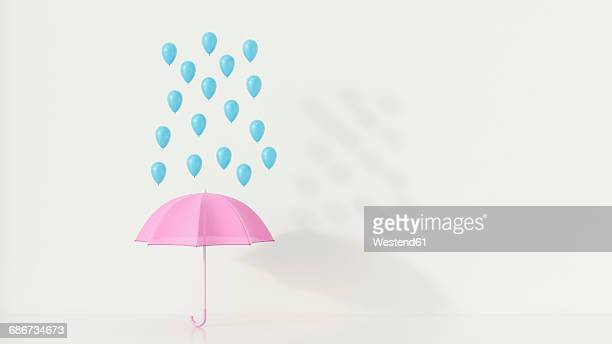 Blue ballons above pink umbrella, 3q rendering